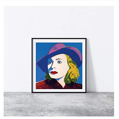 Suuyar Ingrid Bergman Casablanca Mit Hut Kunst Von Andy Warhol Leinwand Poster Wandkunst Druck auf Leinwand Wandkunst -50x50cm Kein Rahmen