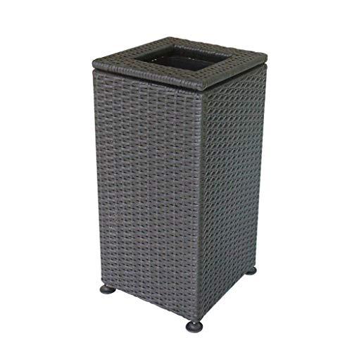 Gran capacidad Tejido a mano Bote de basura cuadrado de plástico Cubos de basura grandes al aire libre Parque Baño Hotel Oficina Jardín Compost Vertical Contenedores de reciclaje de residuos