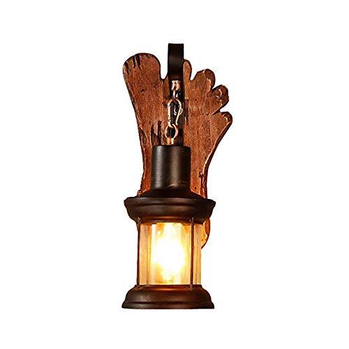 E27 wandlantaarn van houtsoort glas wandlamp restaurant café woonkamer hout wandlamp Allee slaapkamer nachtkastje retro muur spotlights
