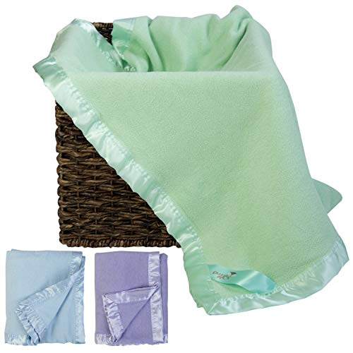 Bamboo Green Toddler Blanket for Boys or Girls- Snuggle with Your Newborn Baby - Natural Hypoallergenic Throw Blanket with Satin Edging - Perfect for Travel Registry! 34 x 47 inches