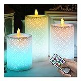 WMDC Cande de Pilar LED Realista con Llama danzante, Vela Decorativa sin Llama de Navidad/año Nuevo, luz de Noche LED Encantadora cálida (Color: 80x120 mm y Control Remoto)