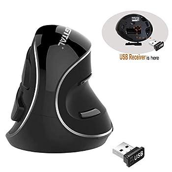 J-Tech Digital Wireless Ergonomic Vertical USB Mouse with Adjustable Sensitivity  600/1000/1600 DPI  Scroll Endurance Removable Palm Rest & Thumb Buttons [V628P]