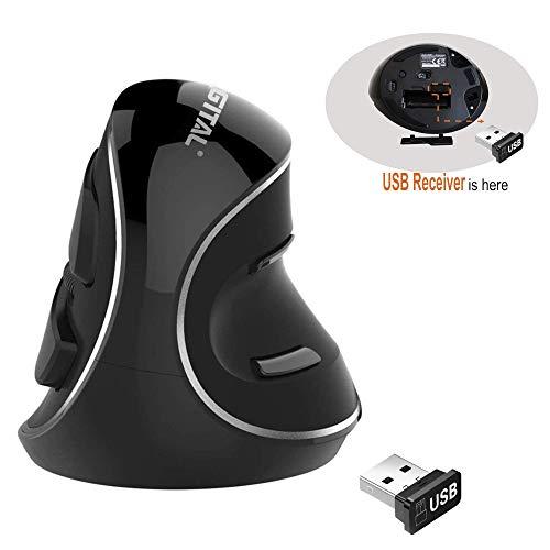Mouse USB verticale ergonomico wireless con sensibilità regolabile (600/1000/1600 DPI), resistenza allo scorrimento, poggiapolsi rimovibili e pulsanti per il pollice (2.4G wireless)