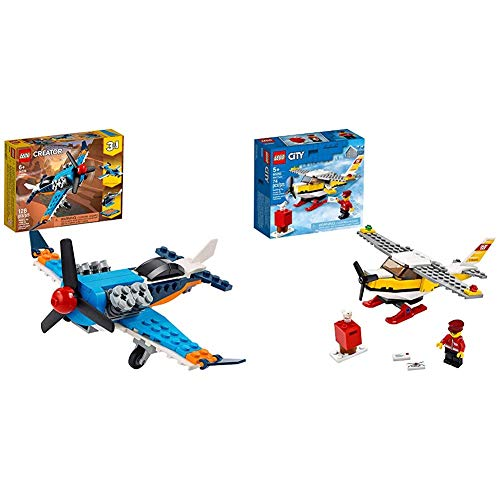 LEGO Creator 3in1 Propeller Plane 31099 Flying Toy Building Kit, New 2020 (128 Pieces) & City Mail Plane 60250 Pretend-Play Toy, Fun Building Set for Kids, New 2020 (74 Pieces)