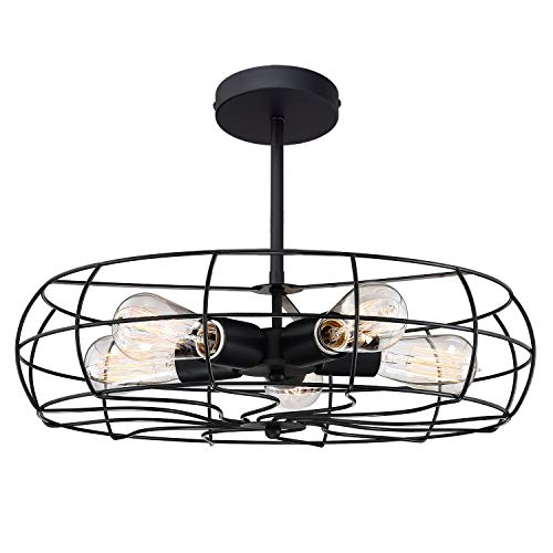 "Kira Home Gage 18"" Industrial 5-Light Fan Style Metal Cage Semi-Flush Mount Ceiling Light, Matte Black Finish"