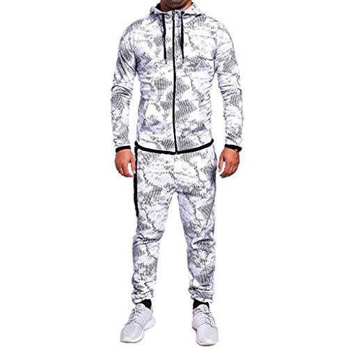 Azruma 2 Teiliges Set Trainingsanzug Herren Jogginganzug für Männer Sportanzug Freizeitanzug Jogginghose + Zip Sweatshirt Hoodie