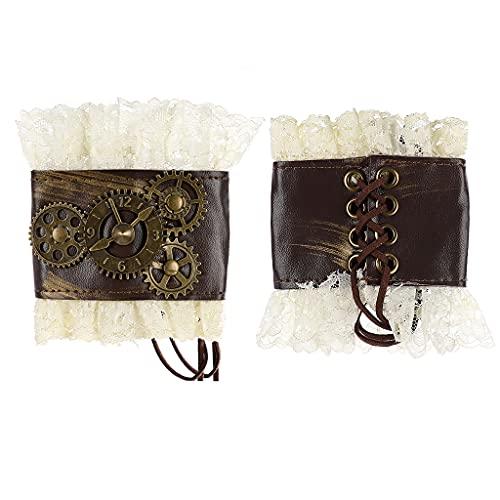 PHILSP Gótico de encaje plisado puños desmontables punk pulseras vintage pulsera filigrana puño decoración camisa mangas falsas