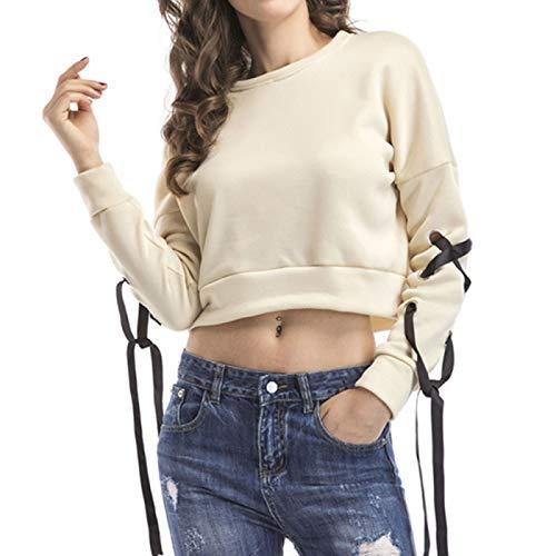 EMPERSTAR Damska Bluza Na Co Dzień Przycięty Sweter Ze Sweterkiem Zasznurowany Sweter Z Długim Rękawem Crop Top Żółty M