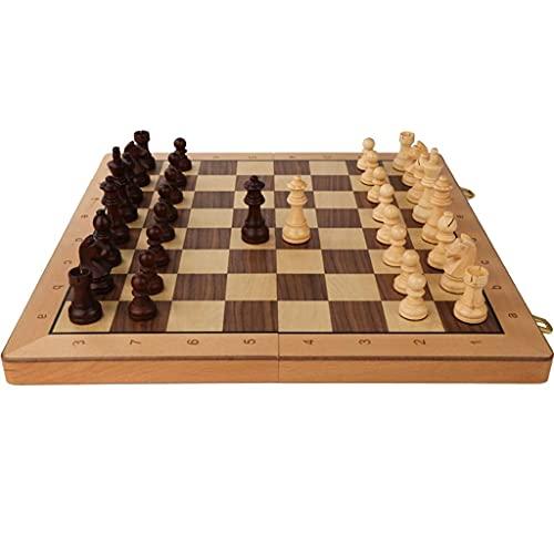 ZCYXQR Juego de ajedrez 2 en 1 Juego de ajedrez portátil y Damas Ajedrez Internacional clásico con Tablero Plegable de Madera y Ranuras de Almacenamiento (Práctica de Juego Mental)