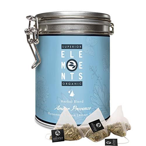 'Amour Provence' Infusión de Hierbas Orgánico sabor Romero Tomillo y Limón, Lata con 15 bolsitas piramidales - alveus Premium Teas