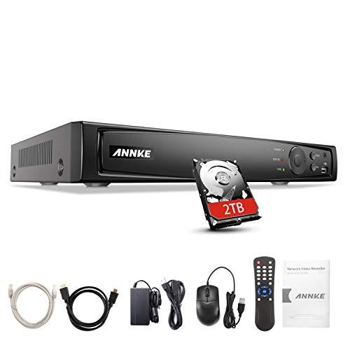 ANNKE Sistema de videovigilancia 4K/8MP 8CH PoE NVR con disco duro de 2TB para cámara IP doméstica, interior y exterior