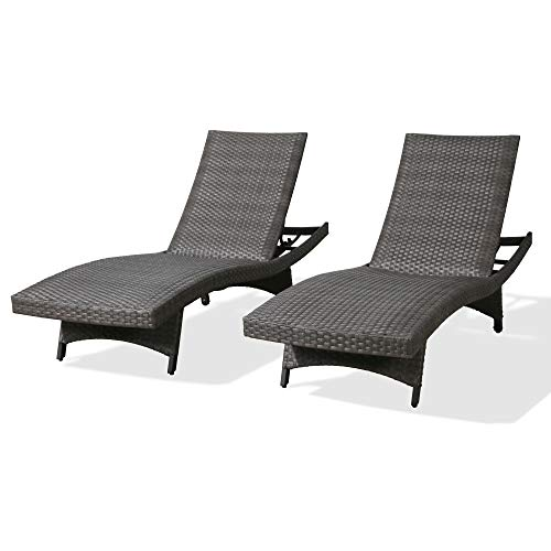 Iwicker Patio Padded Quick Dry Foam Wicker Chaise Lounges Aluminum Frame PE Rattan Reclining Adjustable Backrest Chairs with Wheels, Set of 2