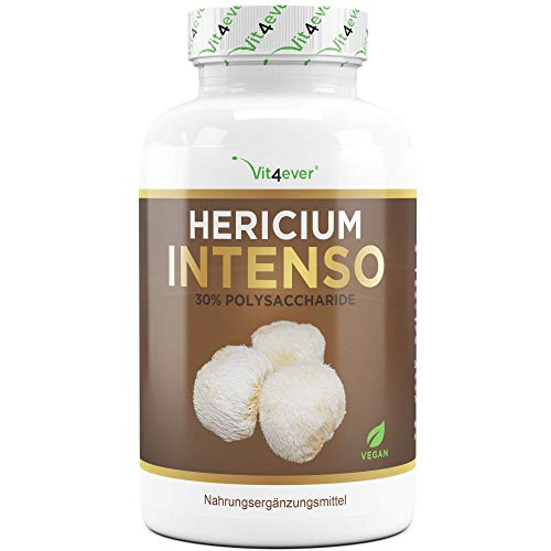 Vit4ever® Hericium Erinaceus Intenso Pilz - 1300 mg pro Tagesportion - 120 Kapseln - Hochdosiert mit 30% Polysaccharide - Laborgeprüfte Qualität - Igelstachelbart Pilz Extrakt - Vegan