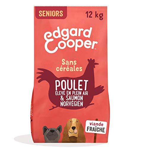 Edgard & Cooper, Croquettes Chien Senior sans Cereales, Nourriture Chien Naturelle Poulet Frais élevé en Plein air & Saumon norvégien 12kg Alimentation équilibrée complète Saine de qualité