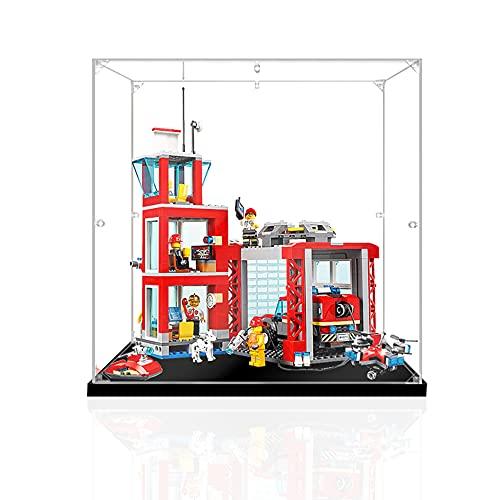 HYQX Estuche de acrílico a prueba de polvo de 3 mm para estación de bomberos Lego 60215, caja de exhibición a prueba de polvo para Lego 60215 (no incluye modelo Lego)