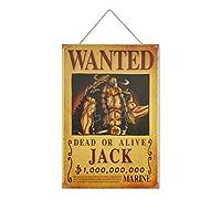 ワンピー-スアニメJACK 木製のリストプラーク木の看板ぶら下げ木製絵画パーソナライズされた広告ヴィンテージウォールサイン装飾ポスターアートサイン