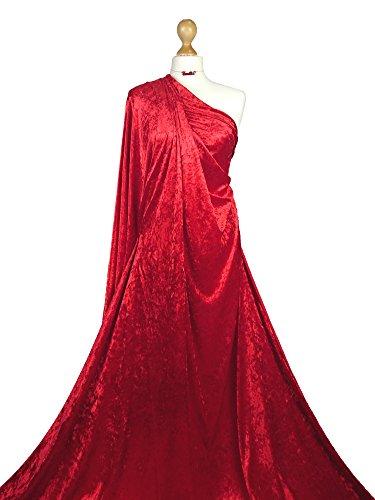 Premium Qualität   Knautschsamt mittelschwer   2-Wege-Stretch-Stoff   CV01   von Fabricies, Stretch, rot, 1 Meter