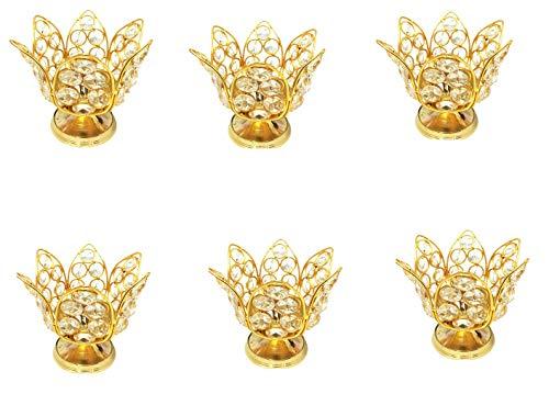 SSR Pack of 6 Handmade Brass Lotus Crystal Diya(6 inch x 6 inch x 4.5 inch) Golden