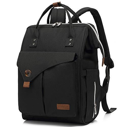 CALIYO Mochila para pañales grande, bolso cambiador multifuncional con mosquetón, para cochecito, bolsa de bebé, mochila escolar, pícnic, mochila de día, unisex, para hombre y mujer (Negro)