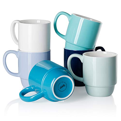 Sweese 605.003 Porcelain Stackable Mug Set - 16 Ounce for Coffee, Tea, and Mulled Drinks - Set of 6, Cool Assorted Colors