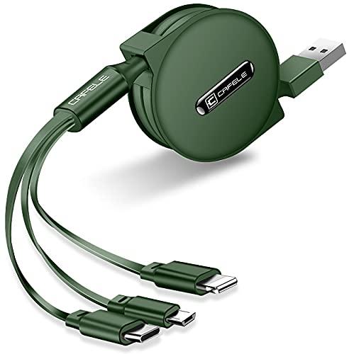 DolDer Cable de carga retráctil 3 en 1 Micro USB/Tipo C Retractable...