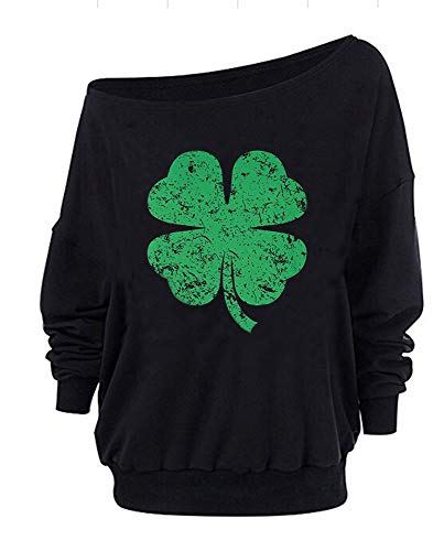 WomensDistressedShamrockSt.Patrick'sDayGreenFourLeafCloverSweatshirtLongSleeveSweaters(G3,S)