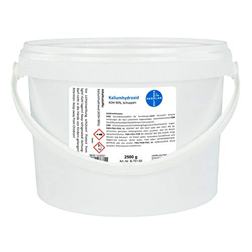 Kaliumhydroxid, Ätzkali >90%, Schuppen, rein I 1 x 2500 g I HERRLAN Qualität I Made in Germany