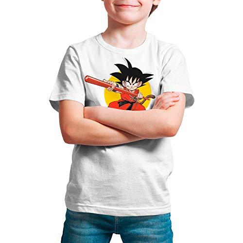 Camiseta Niño, Unisex Goku - Dragon Ball, Bola de Dragón (Blanco, 9 años)