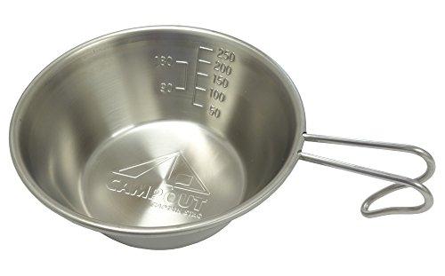 リーズナブルな価格や手入れのしやすさなどで人気のステンレス製のシェラカップ。アウトドアブランドとして知られるキャプテンスタッグの製品です。料理に役立つ50mlごとの目盛りや90・180mlの炊飯に便利な目盛りも付いています。