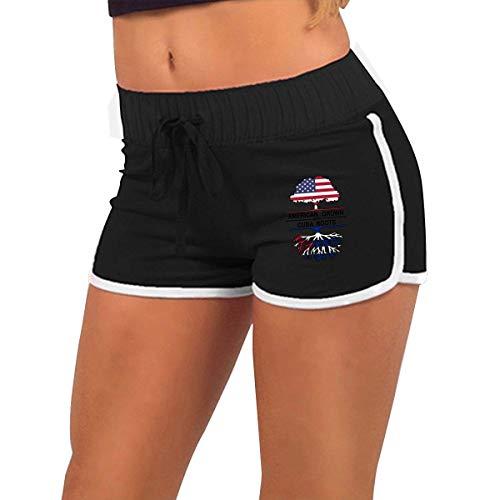longing-été Femmes alluringy Pantalon Cultivé avec Cuba Racines Torse Silhouette Gym Exercice Raves Pantalon - Noir - X-Large