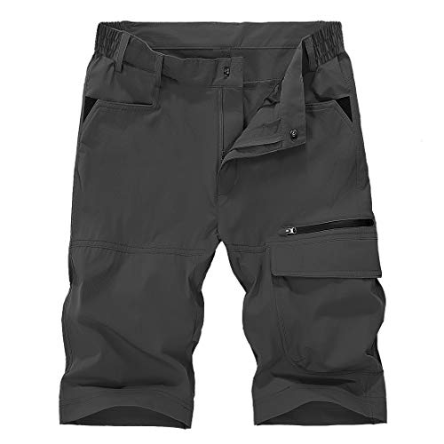 TBMPOY Men's Rip Stop Camping Travel Short Pants Summer Breathable Active Shorts(002 Dark Grey,US 34)
