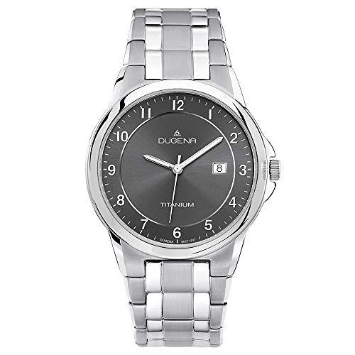 Dugena Herren Titan-Armbanduhr, Allergikerfreundlich, Quarzwerk, Gent, Silber/Anthrazit, 4460513