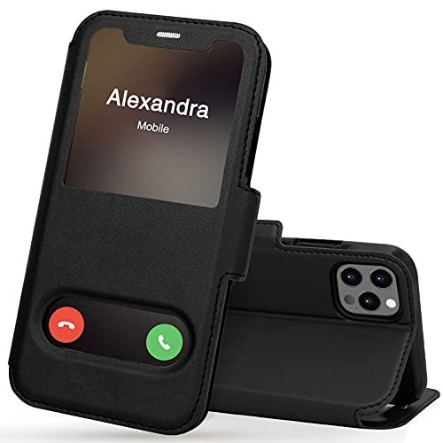 FYY iPhone 12 Pro Max Handyhülle,iPhone 12 Pro Max Hülle 2020,Premium PU Lederhülle Flip Leder Handytasche mit [View-Fenster]& Magnetverschluss für Apple iPhone 12 Pro Max 6.7'' Tasche,Schwarz
