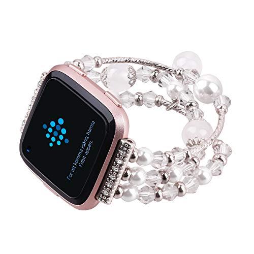 Wei Xi für Fitbit Versa Bänder, Edelstahl Metall Ersatz-Armbänder Bling Elastic Fitbit Versa Zubehör Perlenarmband