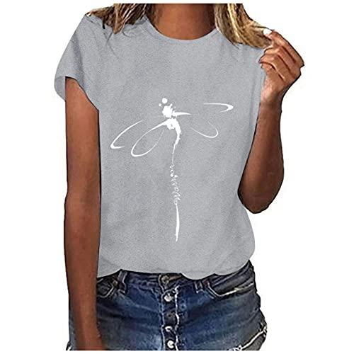 WANGTIANXUE Camiseta de manga corta para mujer, de verano, cuello redondo, estampada, túnica, para adolescentes, chicas, callejeras, deportivas, blusas básicas, camisetas de verano gris XXL