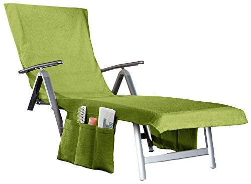 beties 2 in 1 Frottee Liegenauflage Sunny umwandelbar in eine Badetasche + Seitentaschen + Kapuzenüberschlag ca. 70x200 cm Walkfrottee Apfel Grün