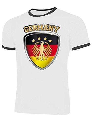 Deutschland Germany Fan t Shirt Artikel 4699 Fuss Ball Welt Ringer Tee EM 2020 WM 2022 Trikot Look Flagge Fahne Männer Herren Spieler Team M