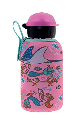 Laken Thermo Hit Kids Insulated Stainelss Steel Water Bottle with Sport Cap and Neoprene Cover, 12oz Sirenas