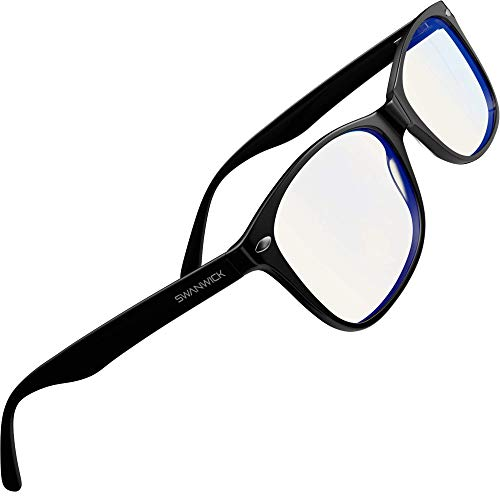 Swanwick: Classic Day Swannies - Premium Blue Light Blocking Glasses - Virtually Clear Lens to Block Harmful Blue Light from Gaming PC, Laptop and Smartphone - Regular - Digital Eye Strain Protection