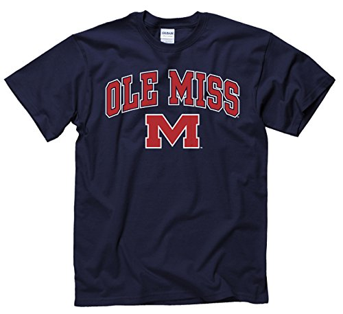 Campus Colors Adult Arch & Logo Soft Style Gameday T-Shirt (Ole Miss Rebels - Blue, Small)