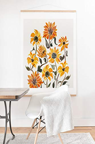 Society6 Cat Coquillette Sunflower Watercolor Yellow Art Print and Hanger, 20x20