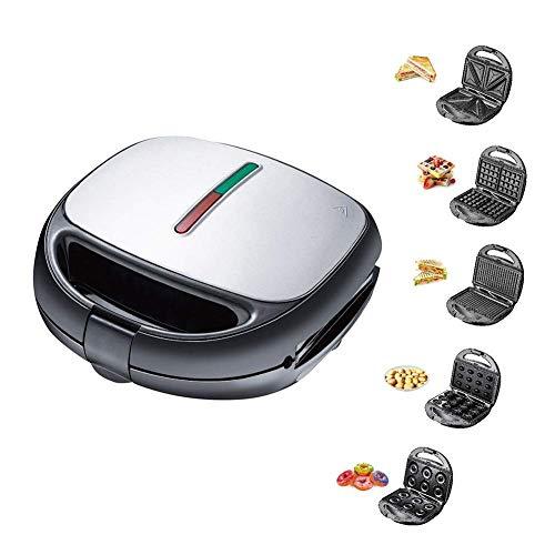 Machine de gaufres électrique 5 en 1, machine à repasser Multifonctionnelle rapide, plaques antiadhésifs amovibles Plaques de cuisson premium pour la cuisine, cuisine kshu