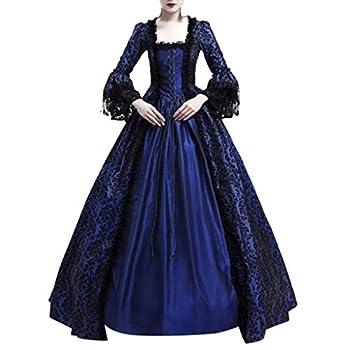 2019 Women Lace Vintage Dress Renaissance Medieval Cosplay Costumes Retro Victorian Irish Fancy Maxi Dresses  Navy M