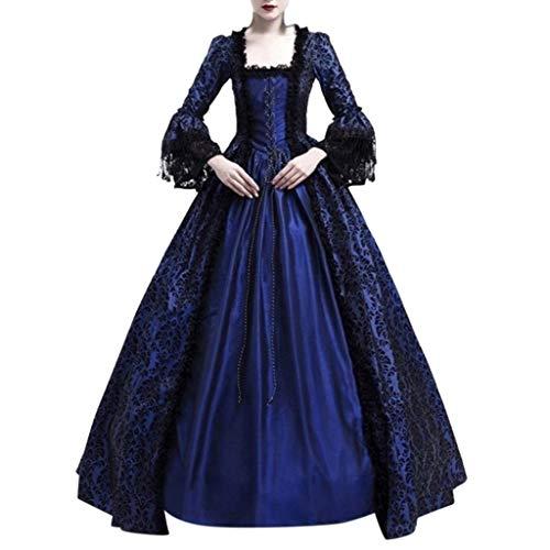 Auiyut Damen Langarm Renaissance Mittelalter Kleid U-Ausschnitt mittelalterlichen Adels Palast Prinzessin Maxikleid Mit Schnürung Und Spitze Lang Halloween Kostüm