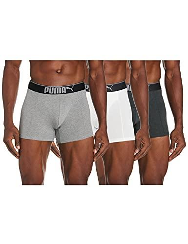 PUMA Premium Sueded Cotton Men's Boxers (3 Pack) Ropa Interior, Blanco, Gris Y Negro, M para Hombre