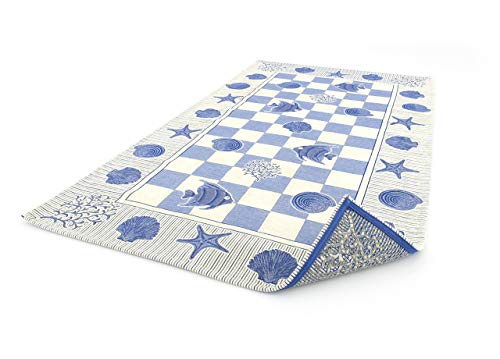 BIANCHERIAWEB Tappeto Velour Antiscivolo Modello Marino By Suardi 65x110 cm (Set 2 tappeti) Blu