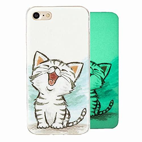Miagon Leuchtend Luminous Hülle für iPhone 6/6S,Fluoreszierend Licht im Dunkeln Handyhülle Silikon Case Handytasche Stoßfest Schutzhülle,Glücklich Katze