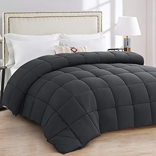 EDILLY All Season King Size Down Alternative Comforter,Duvet Insert with Corner Tab, Cooling Comforter for Night Sweats,Dark Grey