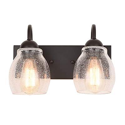 "ALICE HOUSE 13"" Vanity Lights with Seeded Glass,2 Light Wall Sconce Lighting, Brown Bathroom Lights Over Mirror, Farmhouse Bathroom Lighting AL9081-W2"