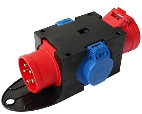 CEE Adapter Stromverteiler CEE 16A 400V - 2 x 230V + 16A Kraftstrom Baustrom Verteiler